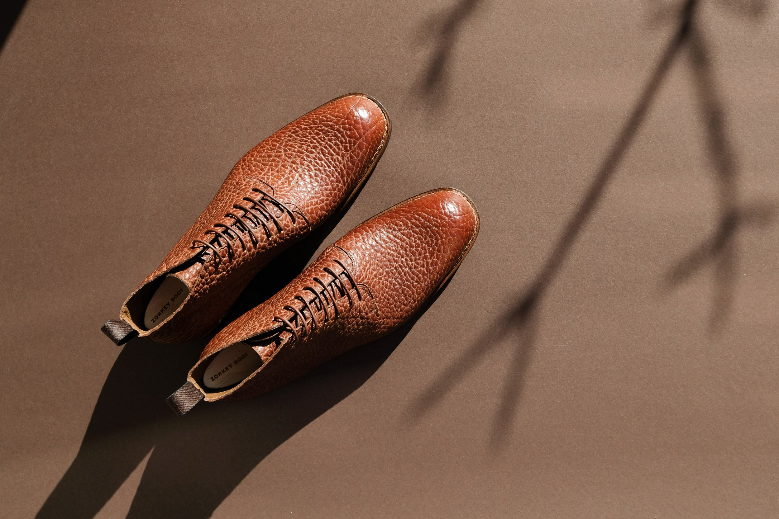 Zonkey Boot Norvegese wholecut derby boots from Shrunken Bull leather