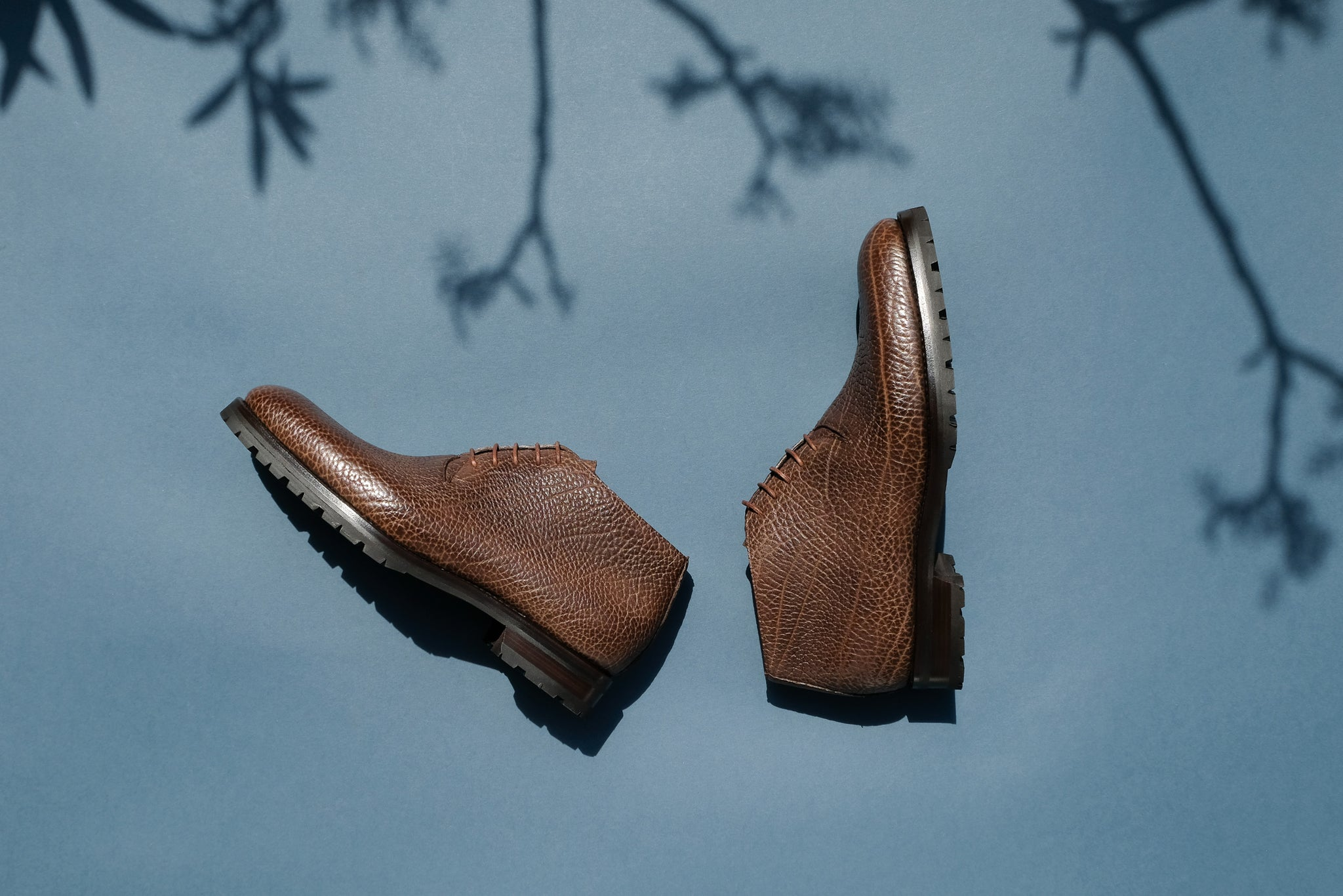Zonkey Boot hand welted wholecut derby boots from Shrunken Bull leather with commando rubber soles