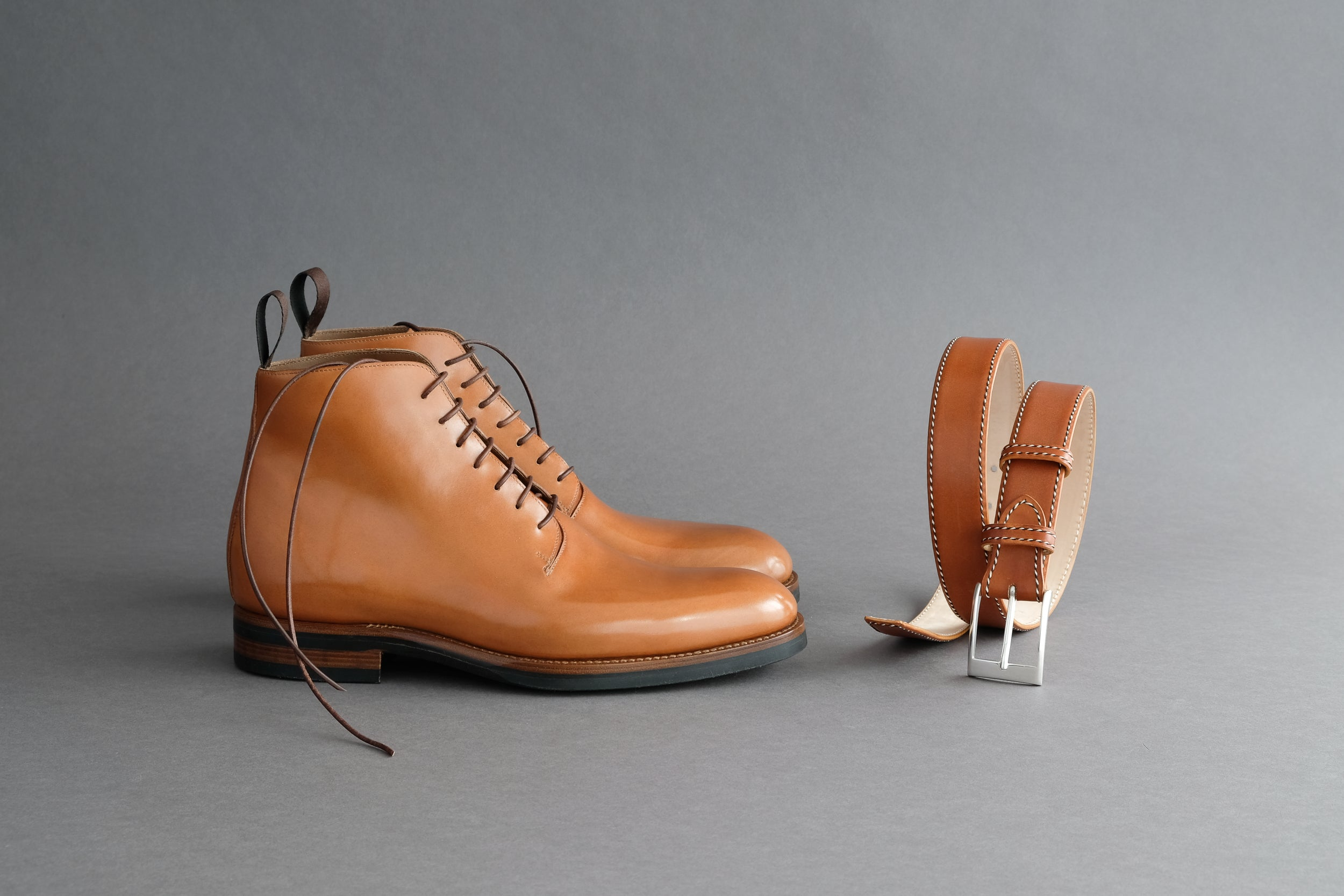 Zonkey Boot hand welted wholecut derby boots with matching belt