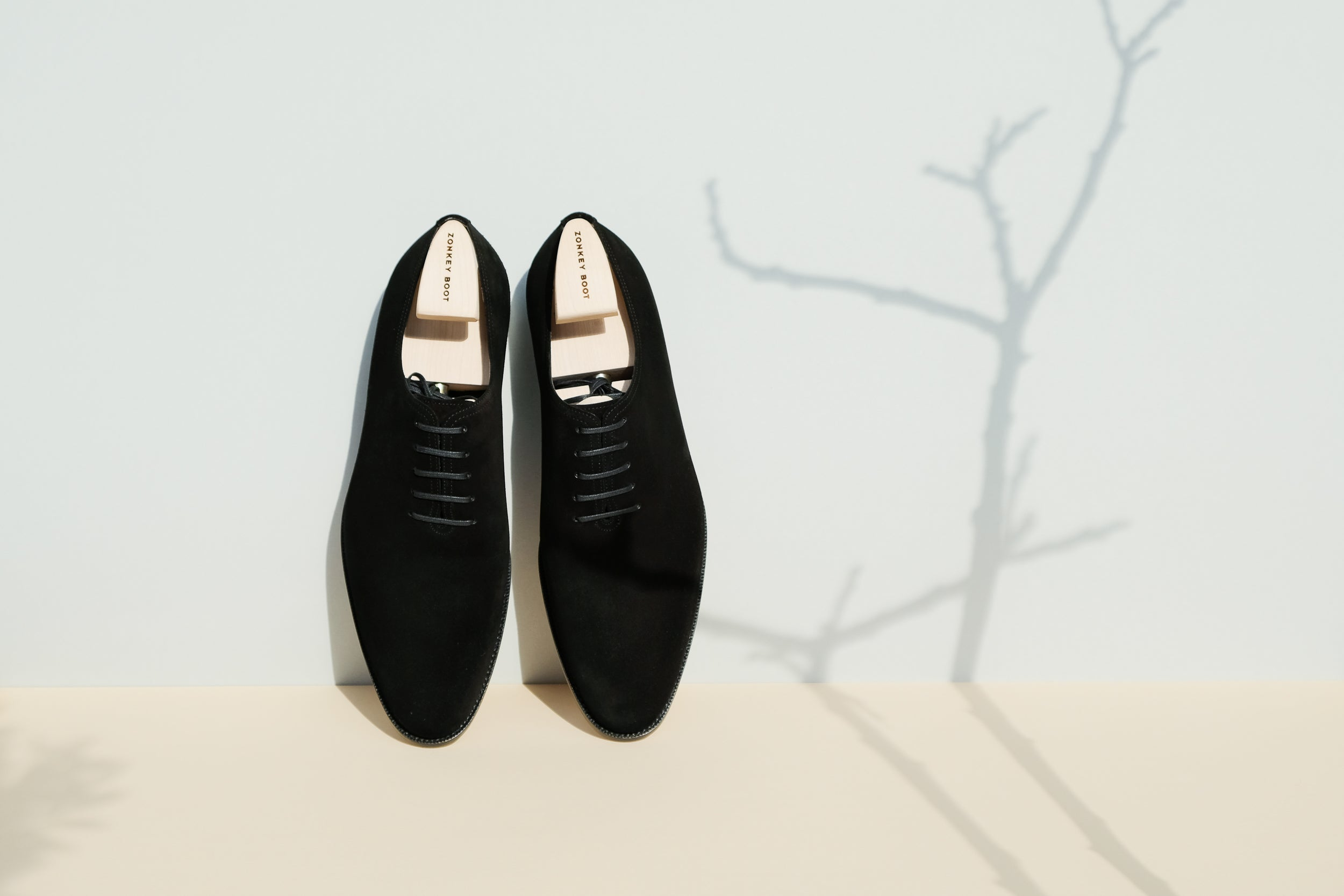 Zonkey Boot hand welted wholecut oxfords from black suede