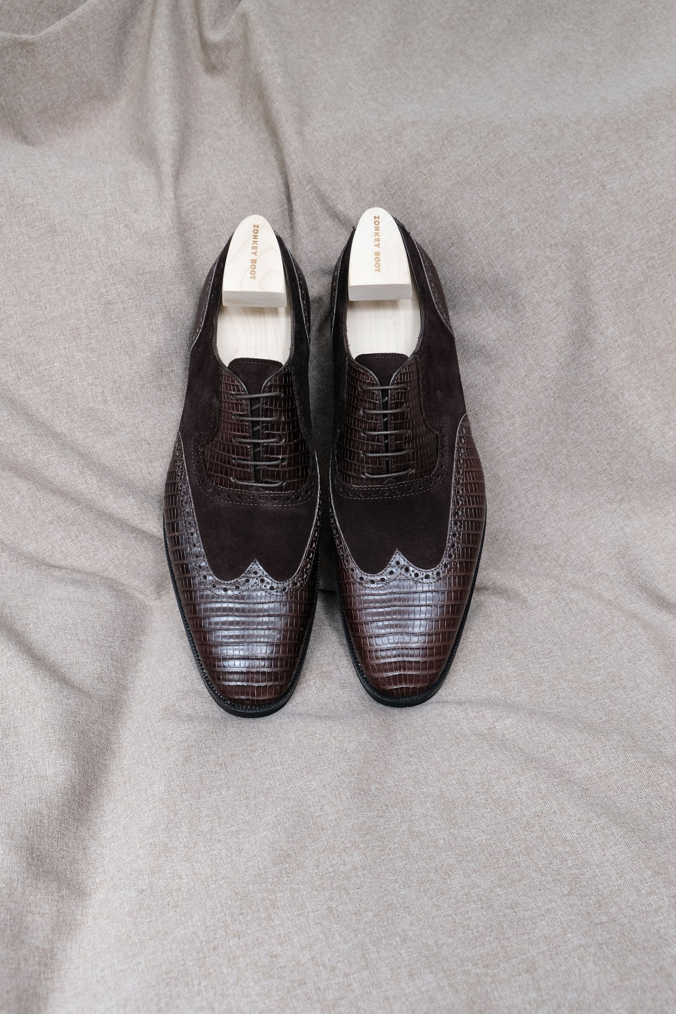 Zonkey Boot hand welted wingtip oxfords from lizard leather and suede