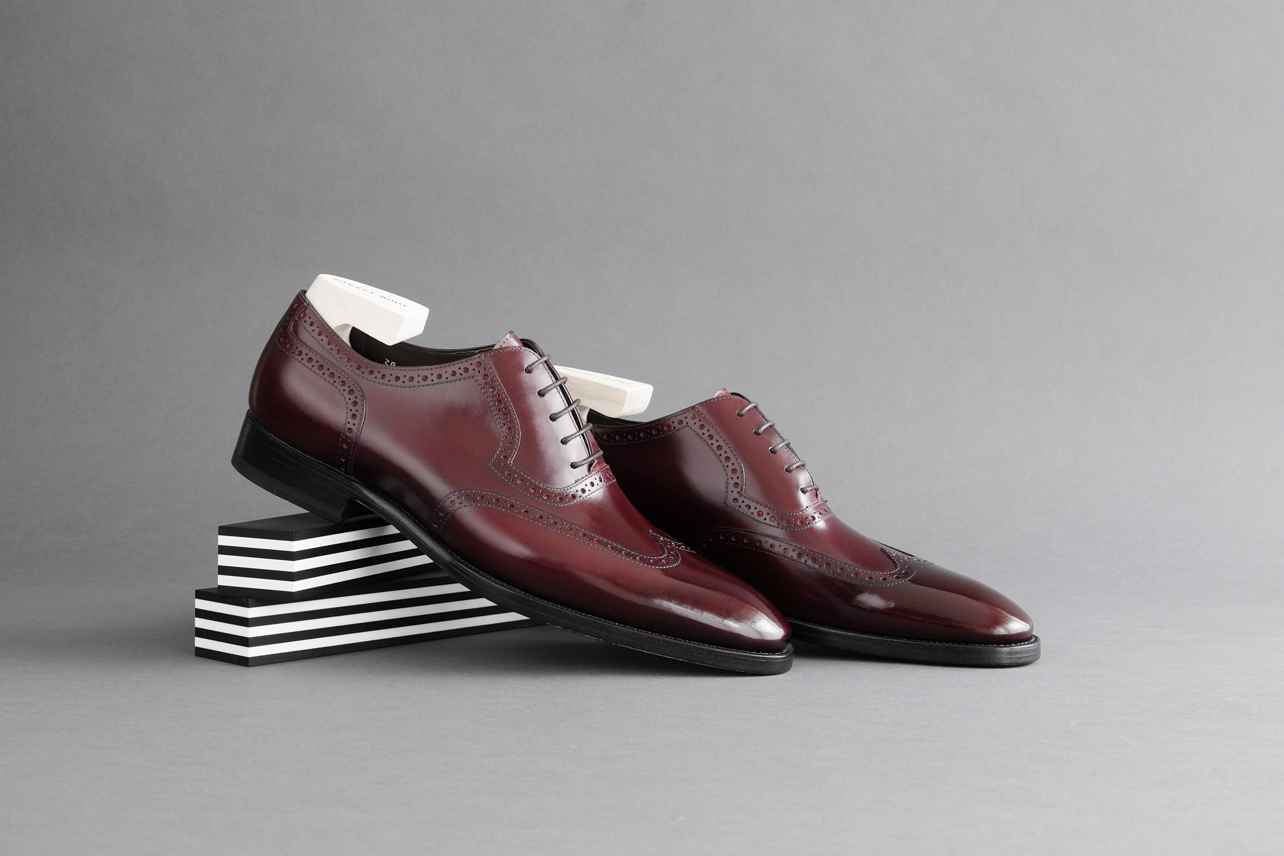 Zonkey Boot hand welted wingtip oxfords in Bavarian Calf Bordeaux