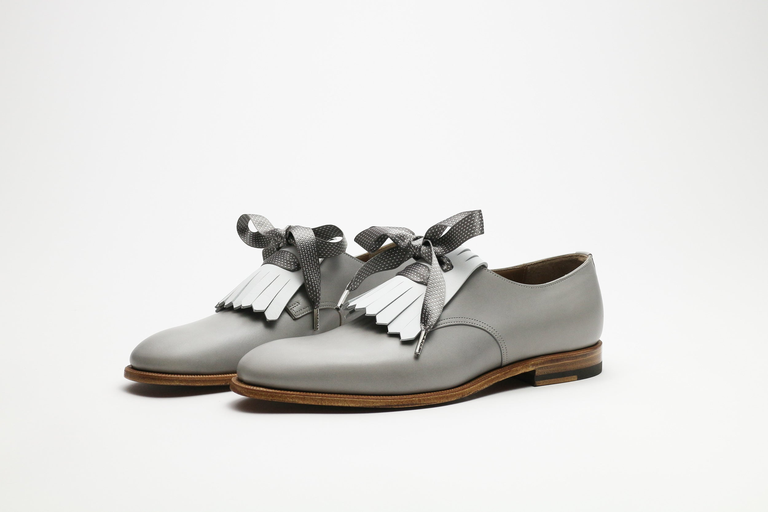 Zonkey Boot ladies golf derby from grey and white calf leather