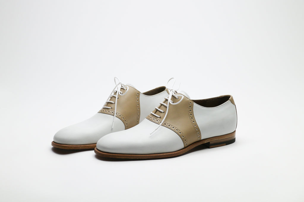 Zonkey Boot ladies saddle oxfords from white and beige calf leather