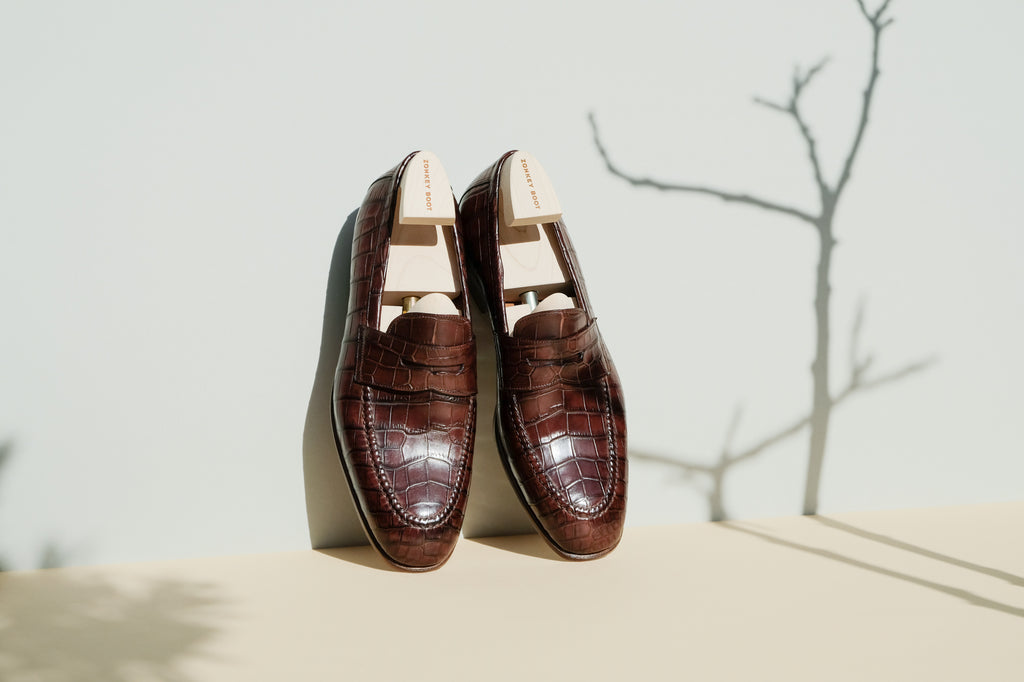 Zonkey Boot made-to-order Penny loafers made from crocodile leather