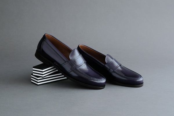 TwoZeroEight.Midnight College Loafers with Bologna Soles