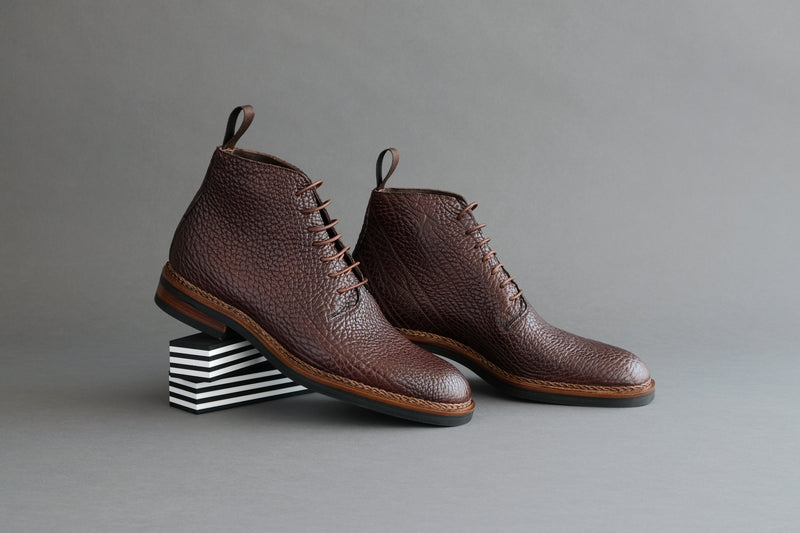 TwoThreeOne.Marco Wholecut Derby Boots from Shrunken Bull Leather