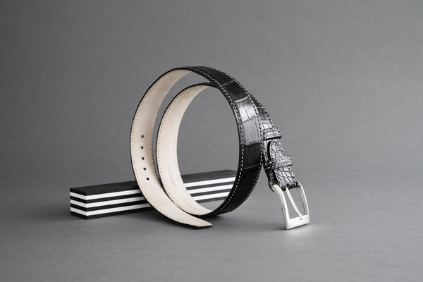 Made-To-Measure Handmade Belt In Black Crocodile Leather