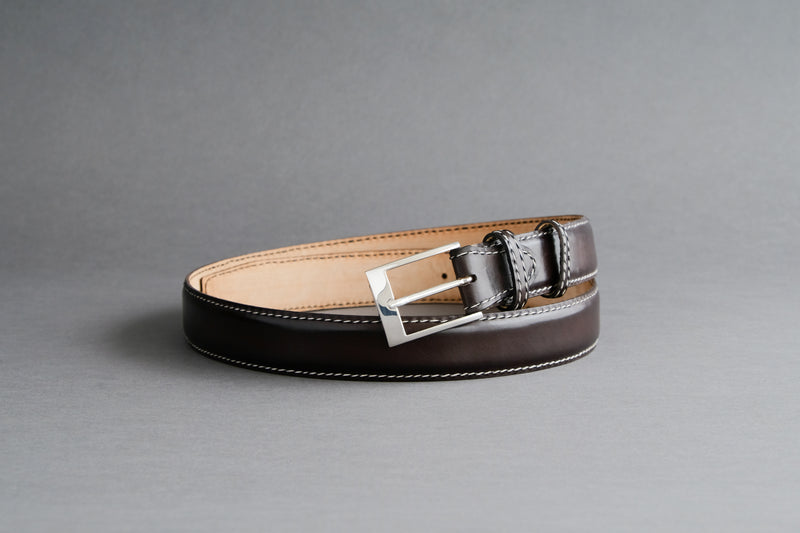 Made-To-Measure Handmade Belt in Dark Brown Calf Leather