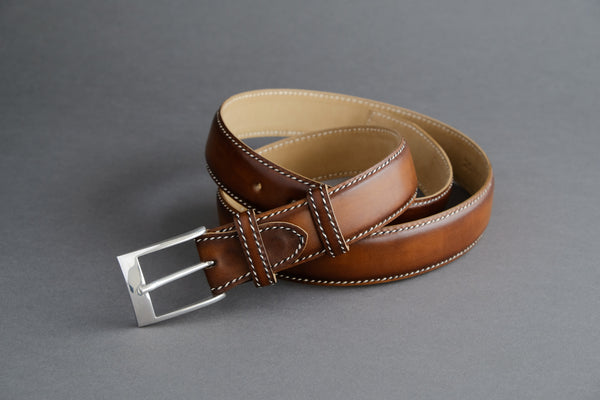 Made-To-Measure Handmade Belt in Brown Calf Leather