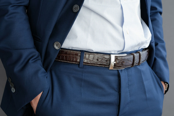 Made-To-Measure Handmade Belt In Warm Umber Crocodile Leather