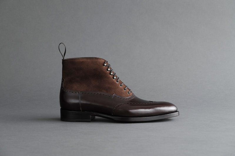 TwoThreeFour.Balmoral II Wingtip Balmoral Boots From Bavarian Calf and Suede