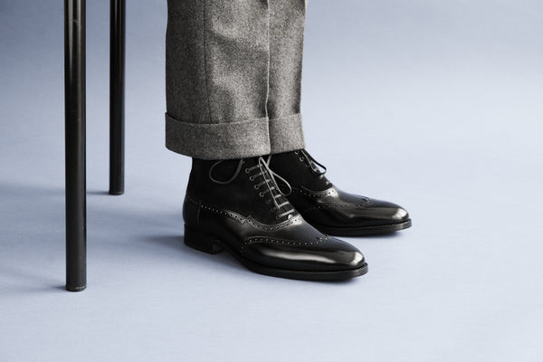 OneSevenOne.Balmoral I Black Balmoral Boots from Calf Leather and Suede