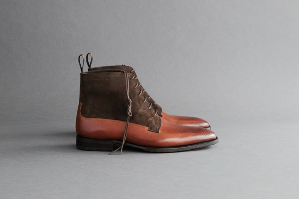 OneFourTwo.Cole Derby Boots from Russian Calf and Suede