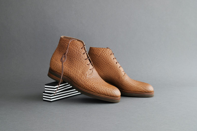 ZeroFourEight.Editon Wholecut Derby Boots from Shrunken Bull Leather