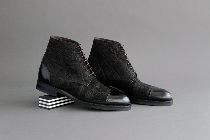 OneFourSeven.Charcoal Derby Boots From Elephant Leather