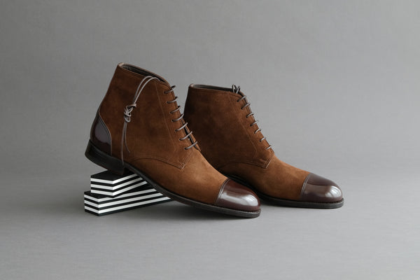 ZeroTwoTwo.Polobrown Derby Boots from Bavarian Calf and Suede