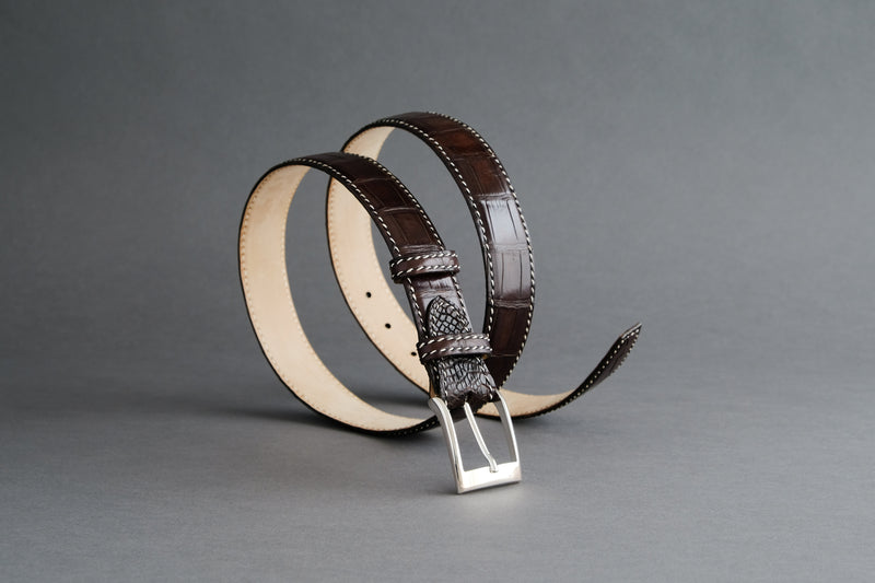 Made-to-Measure Handmade Belt In Mahogany Crocodile Leather