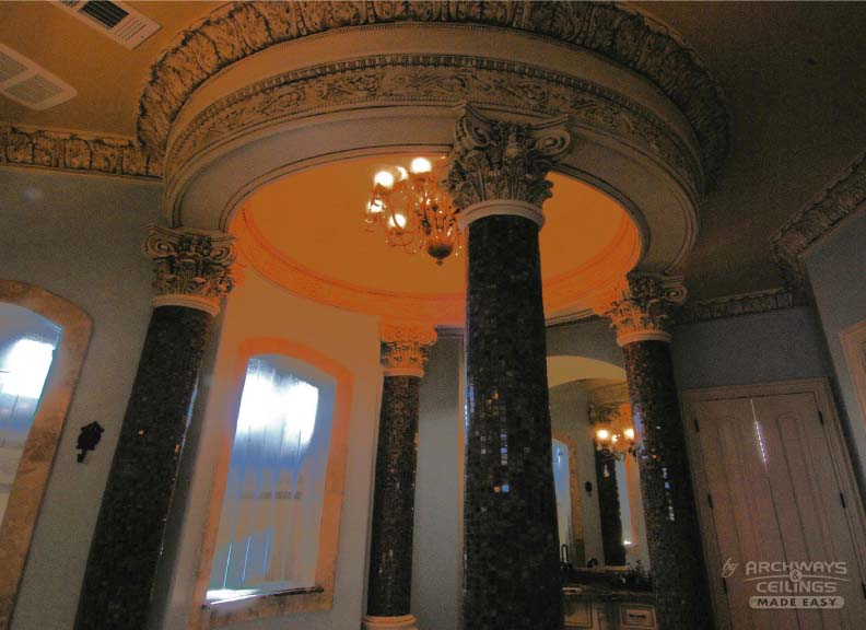 Domed Ceiling With Pillars For An Exquisite Bathroom Look
