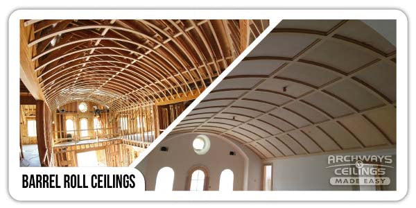 Big barrel vault ceiling framing and finished