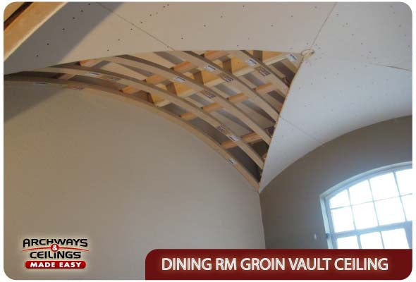 Dining room groin vault with drywall