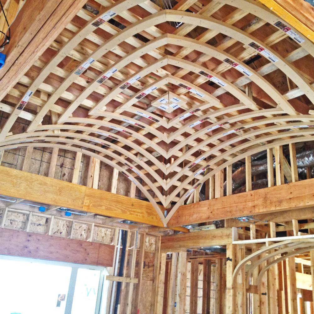 framing of a groin vault ceiling system