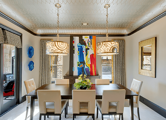 coved ceiling in elegant dining room