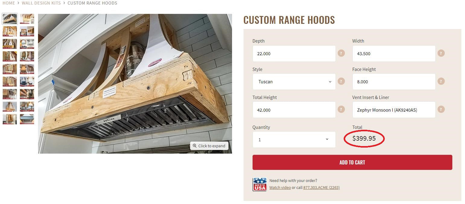Wood Range Hoods Pricing