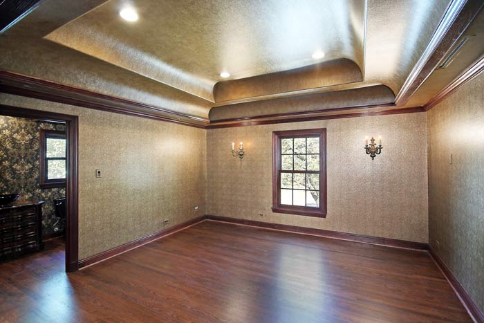 Double coved ceiling design in dining room