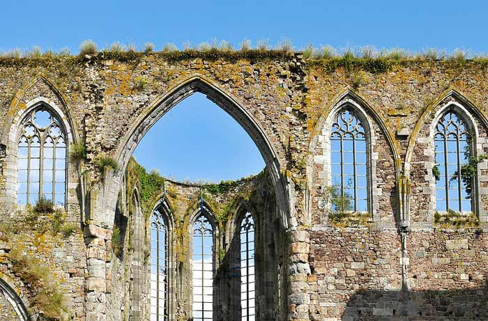 Gothic Arches at Aulne Abbey ruins