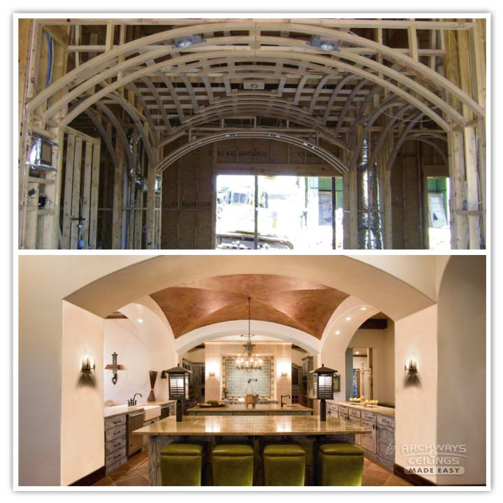 A finished groin vault ceiling