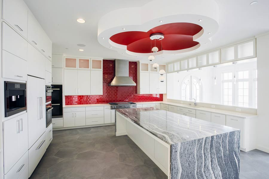 Grome ceiling with pendant lights in a futuristic modern kitchen