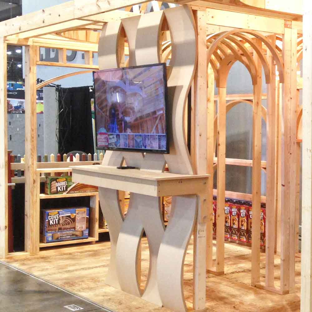 custom curved wall design for TV
