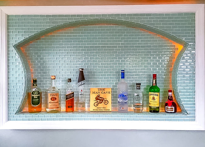 specialty arch wall niche in a man cave