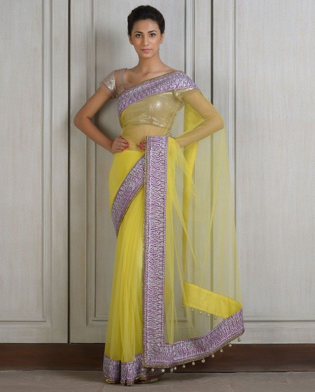 Buy Manish Malhotra Net Sari On Sale