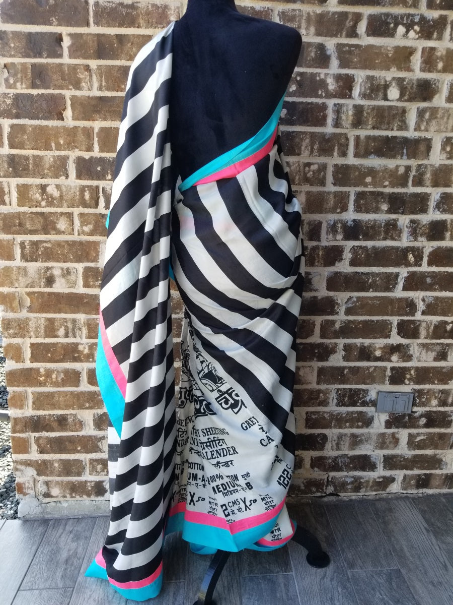 Buy Masaba Striped Sari On Sale