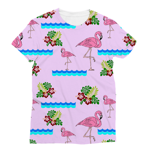Pink Flamingo Paradise All Over All Over Sublimation Vest