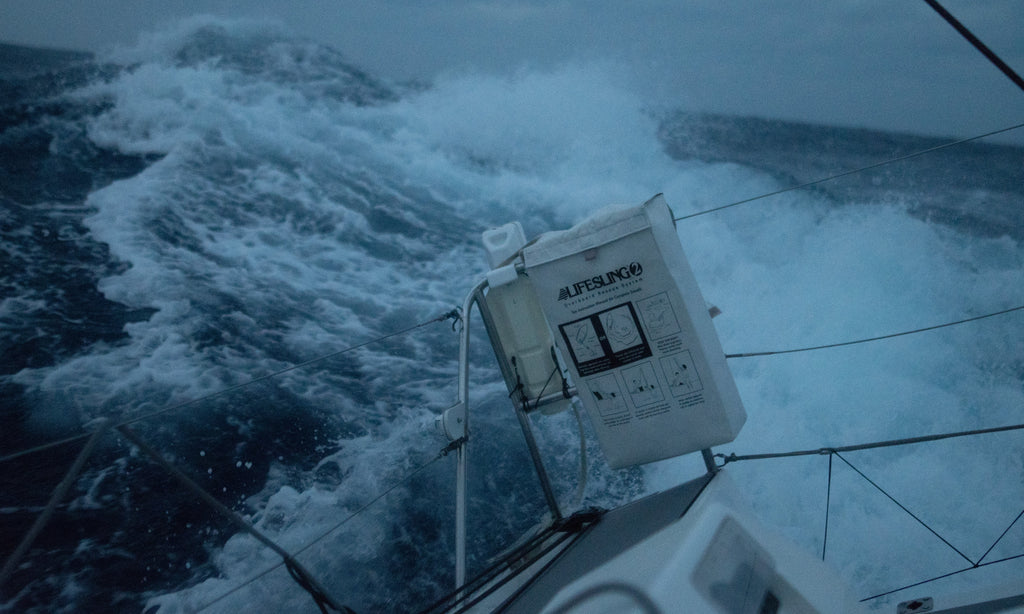 life preserver fixed to boat in rough seas