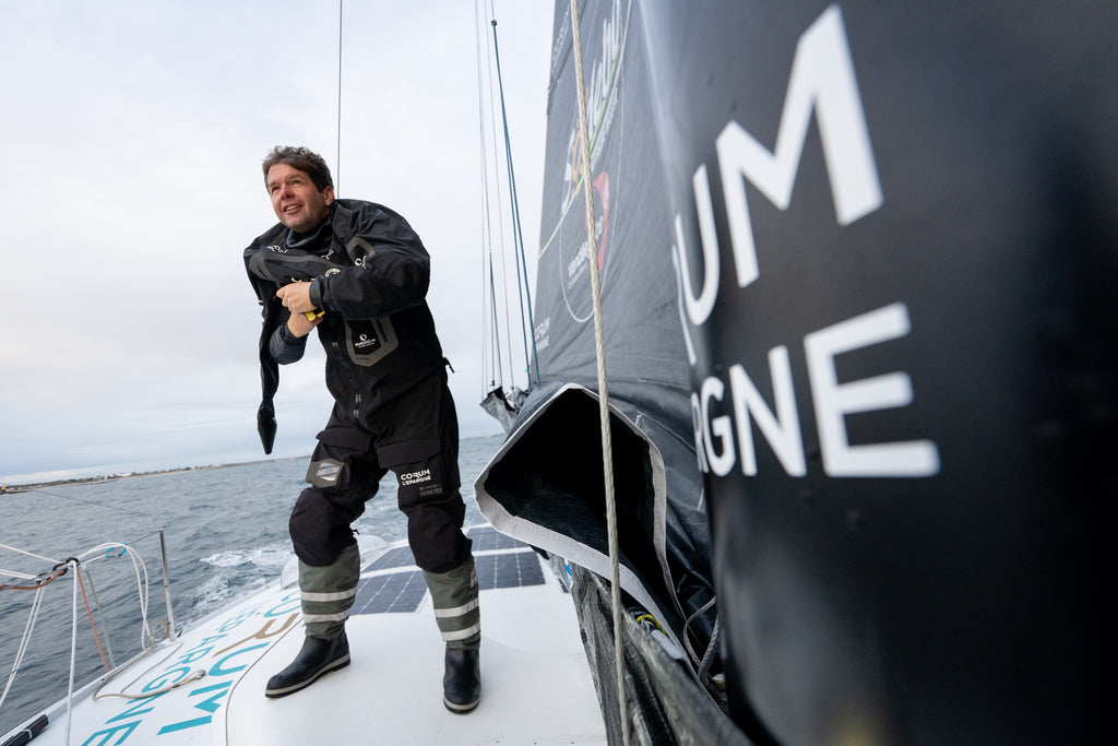 Nicolas Troussel wearing Mustang Survival EP Ocean Racing Gear Vendee Globe 2020