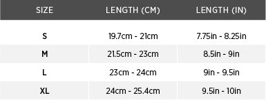 Size chart for Traction Open Finger Glove