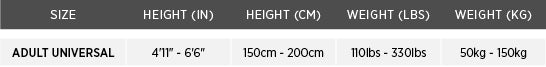 ice commander liner sizing chart