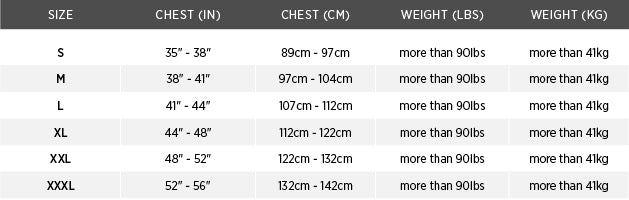 Size chart for Catalyst Flotation Jacket