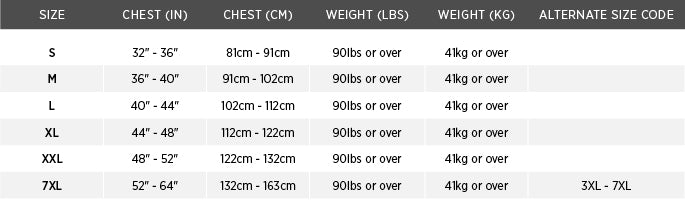 Size chart for 4-Pocket Flotation Vest for USCG