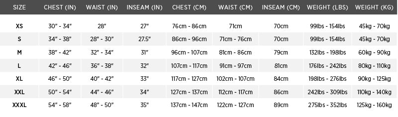 Size chart for Constant Wear Aviation Dry Suit System (2 Layer)