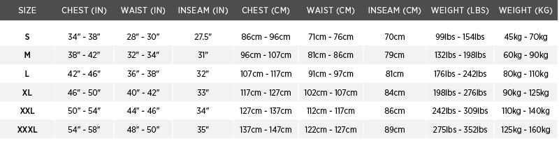 Size chart for ACCEL100 Fishing Vest