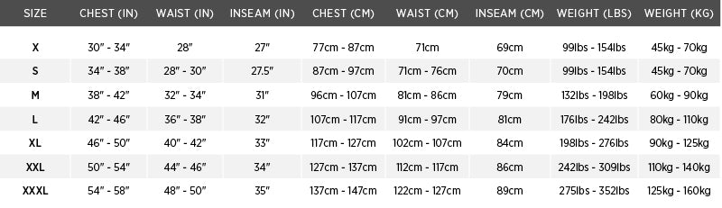 Size chart for Classic Flotation Bomber Jacket for USCG