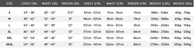 Size chart for Catalyst Flotation Pant