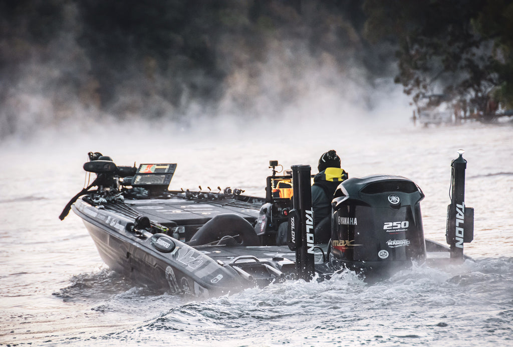 Carl Jocumsen on a competition bass fishing boat