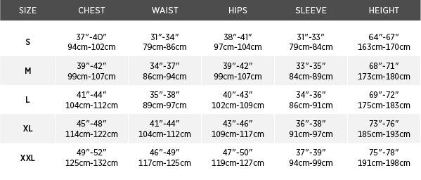 Size chart for Taku™ Waterproof Jacket