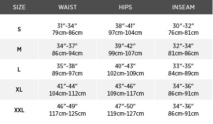 Size chart for Regulate 230 Base Layer Bottom